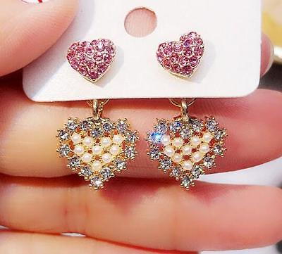 Betsey Johnson Women Pink Heart Crystal Pearl Drop Dangle Stud Earrings Fashion