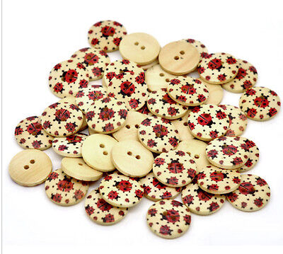 Pkg of 20 LADYBUG 2-hole Wood Buttons 3/4
