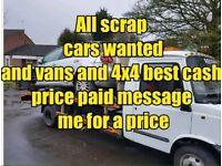 Scrap cars vans 4x4 mot failures non runner wanted cash paid