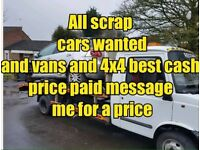Scrap cars vans 4x4 wanted