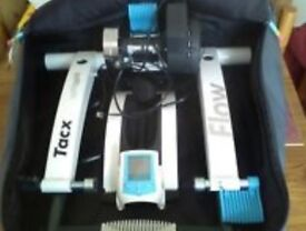 tacx flow turbo trainer bundled with bag, wheel, cassette and tyre