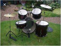 Drum kit beginners teenage Black Rat set