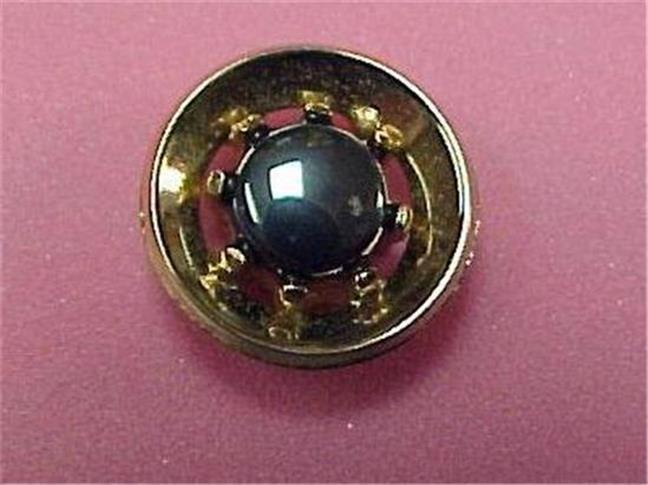 Tie Tack-Vintage-Gold Tone with Hematite Stone  #14334C