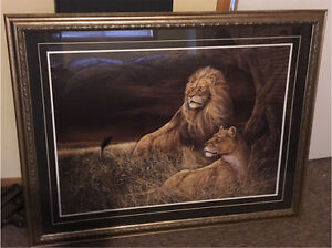 Lion and Lioness matted & framed London Ontario image 1