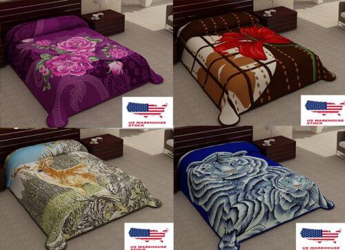 2 Ply Animal & Floral Blanket Reversible King Size Plush Sof