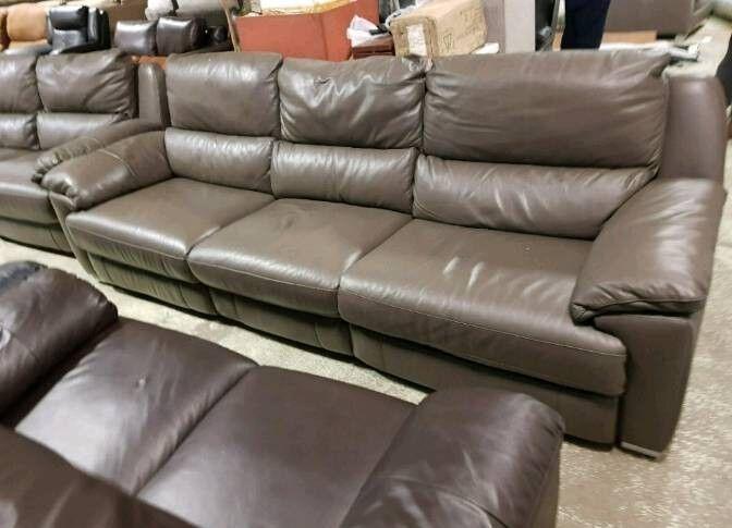 Dark grey leather 4 & 3 seater sofa recliner