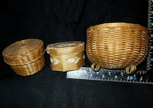 THREE Early  EASTERN WOODLAND BASKETS   vintage