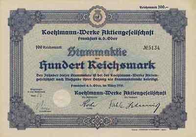 Koehlmann Werk 1939 Frankfurt Oder Fürstenwalde Wellmitz Guhrau 100 RM Spree