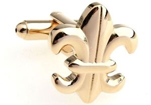 CUFFLINKS GOLD fleur-de-lys fleur-de-lis SAINTS LILY WEDDING NEW ORLEANS GROOM
