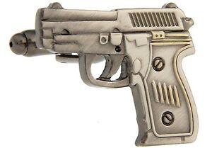 CLASSIC PEWTER HAND GUN JAMES BOND 007 CUFFLINKS, WITH VELVET POUCH,  uk seller