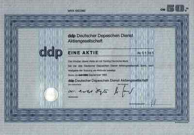ddp Deutscher Depeschen Dienst1983 Bonn ADN Berlin 50 DM Komplette Gewinnanteile