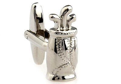 Golf Tasche Paar Manschettenknöpfe Silber Stichen Hochzeit Kostüm Geschenk Box - Geschenk Tasche Kostüm