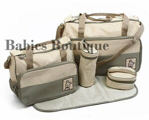 5PCs Baby Nappy Changing Bag Set Diaper Bag Brand New
