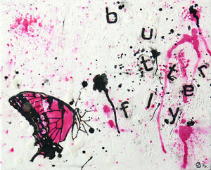 Butterfly, mixed media collage on canvas 10x12 inch West Island Greater Montréal image 1