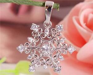 Beautiful-1pc-Silver-Cubic-Zirconia-Nice-Snowflake-Necklace-Pendant