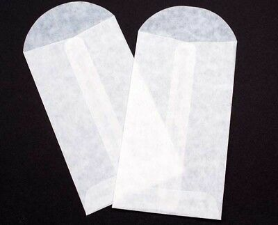 100 - White Glassine Envelopes Waxed Paper Bags - 2 X 3.5 Inches Safe For Food