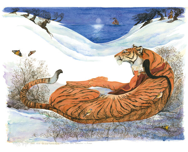 Fine Artwork Reproduction Prints of Jackie Morris'  Reading by Tigerlight