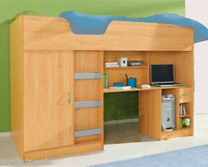 CABIN SINGLE HIGH SLEEPER CHILDRENS KIDS BED