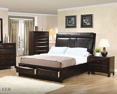 NEW MODERN PHOENIX I CAPPUCCINO FINISH WOOD QUEEN KING PLATFORM BED w/ STORAGE Cappuccino Finish Queen Bed