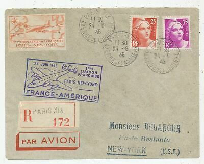 TIMBRE AVION AVIATION AIR FRANCE FDC 24 JUIN 1946 1ere LIAISON FRANCE AMERIQUE