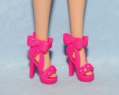 Barbie Shoes Fashionistas Bright Pink Flower Accent Peep Toe Wedge Heel Sandals