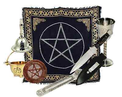Pentacle Wiccan Altar Kit - Athame, Chalice, Altar Cloth, Bell, Cauldron, Ritual