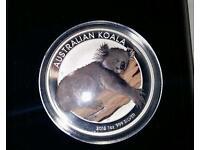 Solid silver RARE Australian Koala colured limited edition coin.