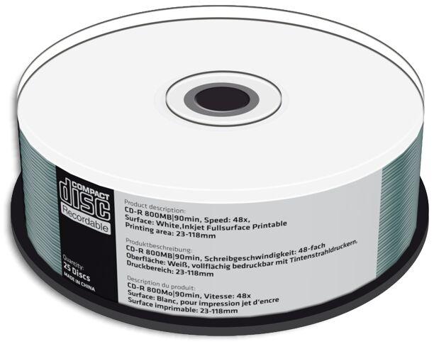 50-pak =90-min= 800mb 48x White Inkjet Hub Printable Cd-r...