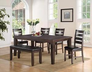 Brand New!! Hardwood Solids, Pepper Stain Finish 7 Pc Dining Set