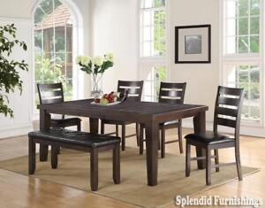 BRAND NEW!! HARD WOOD SOLIDS, PEPPER STAIN FINISH 7 Pc DINING SET BLOW OUT