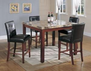 Contemporary Style Faux Marble Counter Height 5 Pc Dining Set