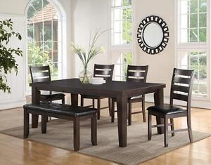 Brand new: rectrangular table with leaf + 6 Chairs