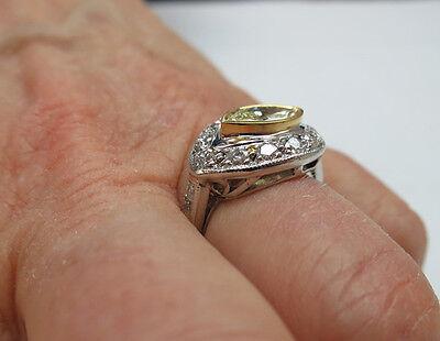 1.01 ct GIA Fancy Yellow Color VS1 Marquise Diamond Platinum Antique Ring 1.70 c 7