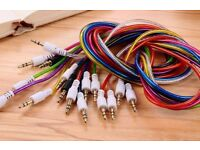 Wholesale Job Lot Bulk Buy x100 1M 3.5mm Aux Cables Male to Male Car Brand New GREAT FOR RESALE