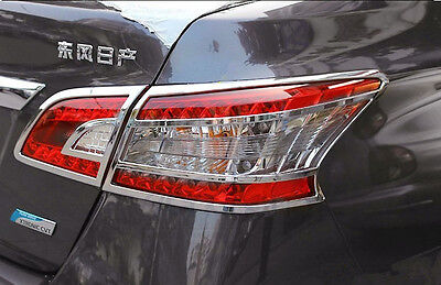 Chrome Rear Light Lamp Cover Trim For 4pcs For Nissan Sentra Sylphy 2012  2016