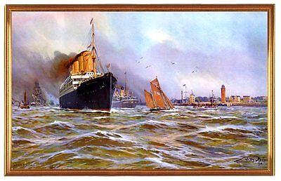 Deutsches Reich Cuxhaven Hafen 1910 Gemälde Stöwer 12LW