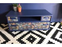 Blue G Plan Tv storage stand on casters Height 41cms Length 92cms depth 46cms £75ono