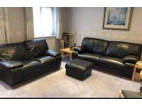 "Caramel, Incanto, ""Naif"" Bluey Grey, 3 & 2 seater Leather Suite (Original RRP £2377)"