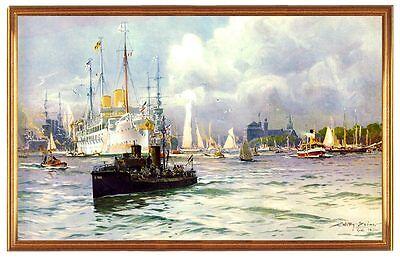 Deutsches Reich Kiel Hafen 1909 Gemälde Flotte Yacht Marine See Willy Stöwer 14