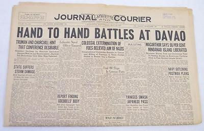 Lafayette Journal and Courier complete newspaper May 6, 1945 post VE Day Lot 306