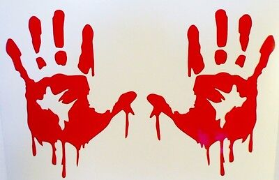 Bloody Hands (Red Bloody Zombie Hands Walking Dead Car Window Vinyl Decal Sticker **RED)