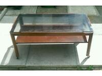 Antique, Solid Oak Wood, Coffee Table with Black Glass Top