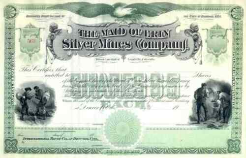 19__ Maid of Erin Silver Mines Stock Certificate