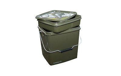 Trakker NEW Carp Fishing 13 Litre Green Square Bait Bucket With Removable Tray