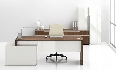 Nex Modern Executive Office Desk With Bookcase Storage And Wardrobe