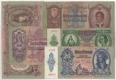 UNGARN  Geldschein-Lot mit 10- und 20 Pengo  insgesamt 5 Scheine