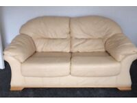 Real leather 2 seater and chair