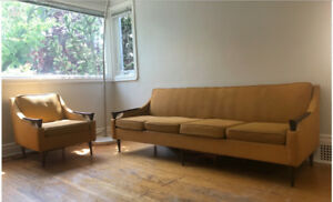 Vintage mid century sofa and chair set