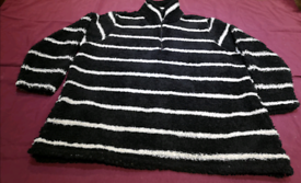 XXXL plus size black and white blouse with pockets