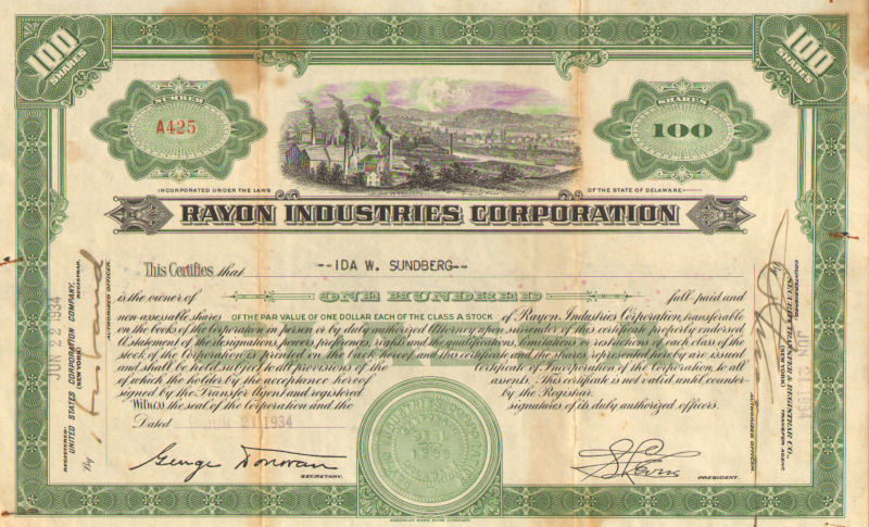 Rayon Industries Corporation > 1934 stock certificate